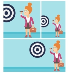 Businesswoman and target board vector