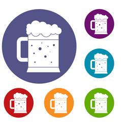 beer mug icons set vector image vector image