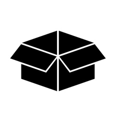 Black silhouette open packing box vector