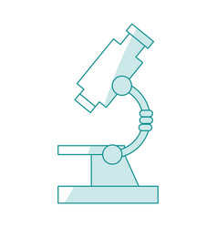 Blue silhouette shading cartoon microscope science vector