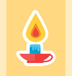 Burning candle in red cap in white faming vector