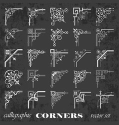 Calligraphic corners on chalkboard vector