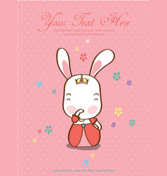 card cute princess rabbit pink background vector image vector image