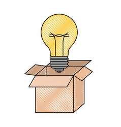 Cardboard box and light bulb in colored crayon vector