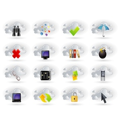 cloud network icons set vector image
