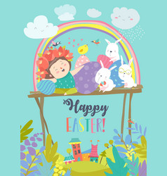 Cute girl with easter rabbits and easter eggs vector