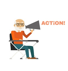 Director sitting on chair with megaphone vector image vector image