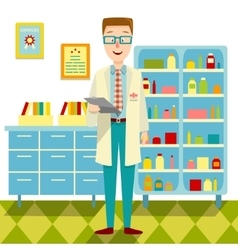 Doctor In His Office Flat Design vector image