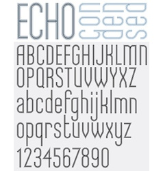 Echo retro striped rounded font vector