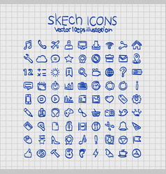 exercise book sketch of hand drawn icons vector image vector image