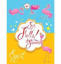 Flamingo card 2 380 vector