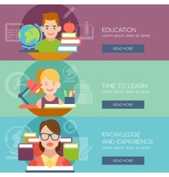 Flat education student pupil kid teacher people vector image vector image