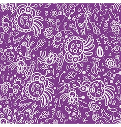 Funny doodle seamless pattern on lilac background vector