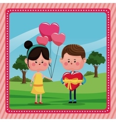 Girl balloons heart boy gift valentine day rural vector