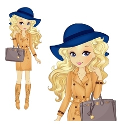 Girl in blue hat and classic bag vector