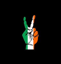 Hand making the V sign Ireland flag painted as vector image