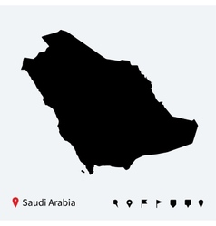 High detailed map of saudi arabia with navigation vector