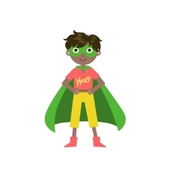 Kid in superhero costume with green cape vector