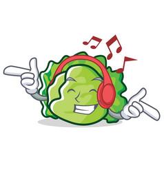 Listening music lettuce character cartoon style vector