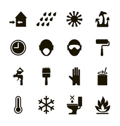 Paint icons set usage safety information vector