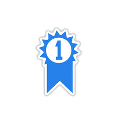 Paper sticker on white background first medal vector