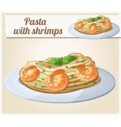 Pasta with shrimps cartoon icon vector