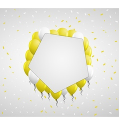 Pentagon badge and yellow balloons vector