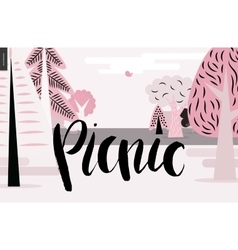 Picnic lettering on pink forest landscape vector