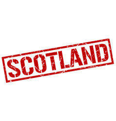 Scotland red square stamp vector