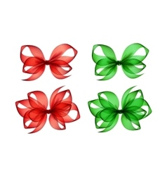 Set of Colored Green Red Gift Bows on Background vector image