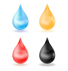set of realistic drops yellow blue red black vector image