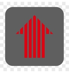 Stripe arrow up rounded square button vector