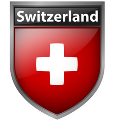 Switzerland flag on badge design vector