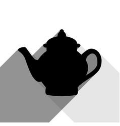 tea maker sign black icon with two flat vector image vector image