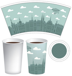 template paper cup with the background of old town vector image vector image