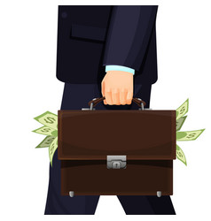 Unknown man in suit stealing budget briefcase vector