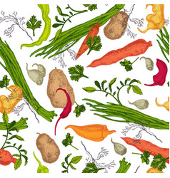 vegetable colored engraving seamless pattern vector image vector image
