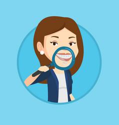 woman examining her teeth vector image