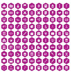 100 calculator icons hexagon violet vector