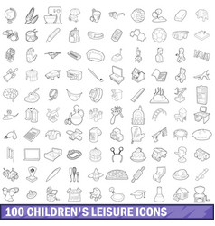 100 children s leisure icons set outline style vector image