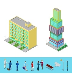 Isometric skyscraper city office building vector