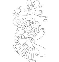 Coloring happy clown vector