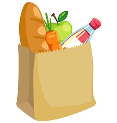 paper bag with bread and apple and carrot vector image