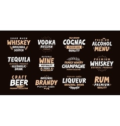 Alcoholic drink collection labels for menu design vector