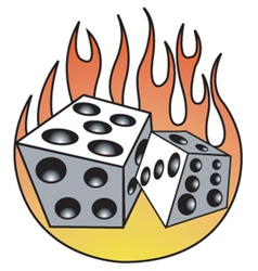 Dice with flames vector