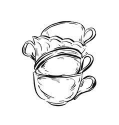 Hand drawn ink graphic vintage tea cups vector