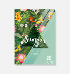Tropical exotic flowers summer graphic background vector