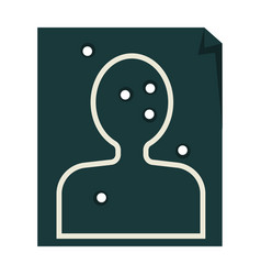 Paper target with human silhouette and bullet vector