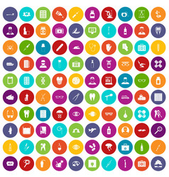 100 doctor icons set color vector