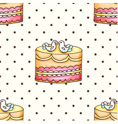 Cake with polka dotsseamless pattern vector